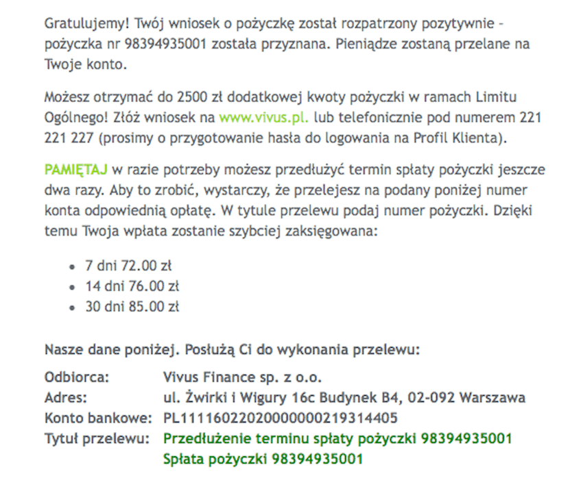Proces pożyczkowy w Vivus krok 6.1