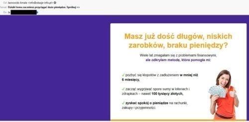 screen z e-maila o pozbyciu się długów
