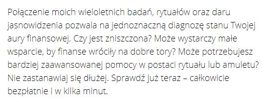 screen ze strony przepowiadamy.pl - opis doświadczenia wróżki