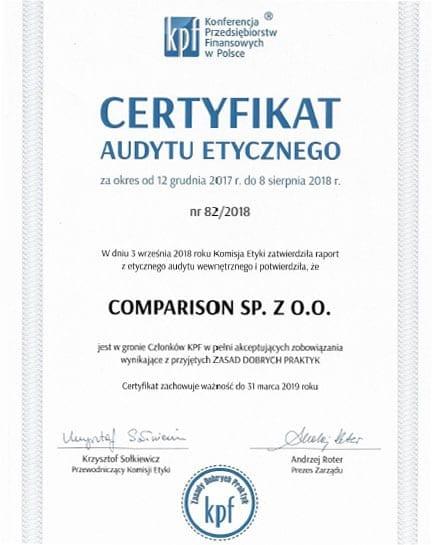 Certyfikat audytu etycznego 2018