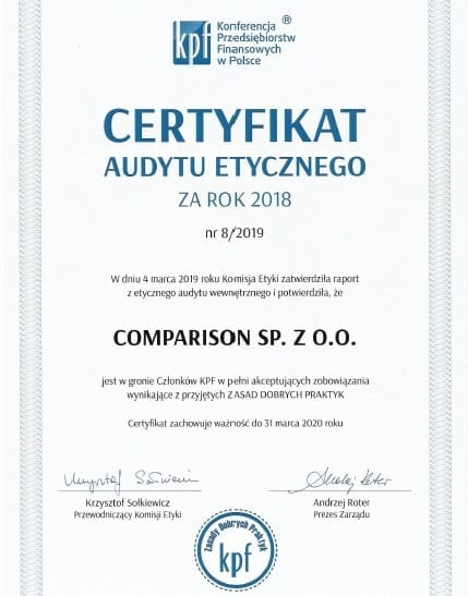 Certyfikat audytu etycznego 2019